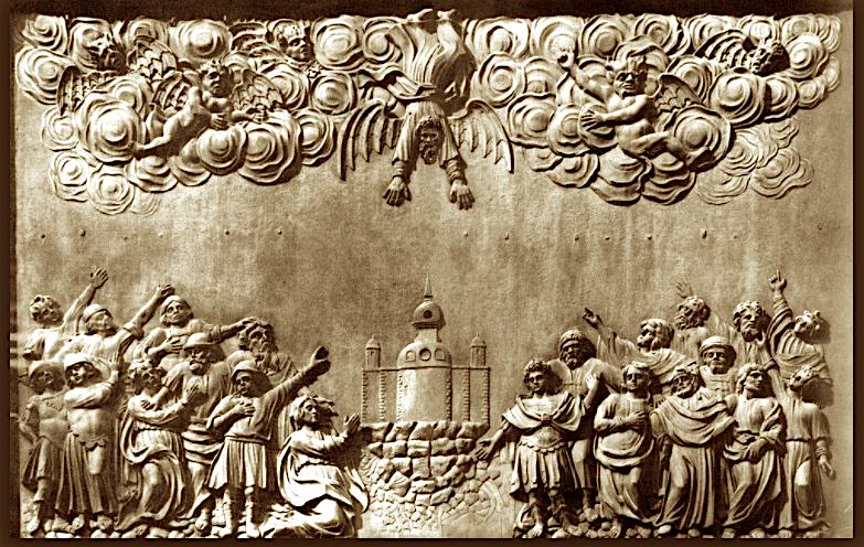 Барельеф Низвержение Симона волхва апостолом